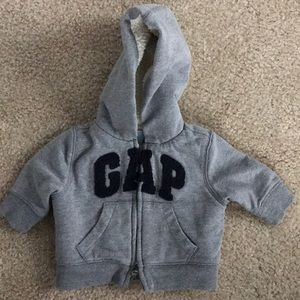 Baby Gap Grey Hoodie w/fleece Size 0-3 so perfect!
